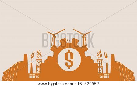 Energy and Power icons set. Header or footer banner. Sustainable energy generation and heavy industry. Vector illustration. Dollar symbol