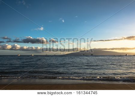 View of Lanai Island from Maui coast at sunset, Hawaii