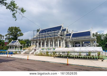 Wat Kaew Korawaram Buddhist temple also known as White Temple in the city of Krabi, Thailand.