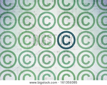 Law concept: rows of Painted green copyright icons around blue copyright icon on Digital Data Paper background