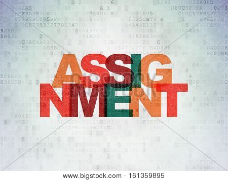Law concept: Painted multicolor text Assignment on Digital Data Paper background