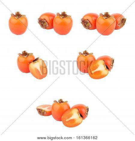 Set Of Different Variations Of Orange Persimmons