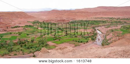 Moroccan Fortress In A Desert Oasis, Ait Benhaddou Ksar, Ouarzazate, Morocco, Panorama