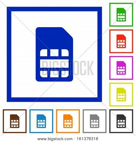 SIM card flat color icons in square frames