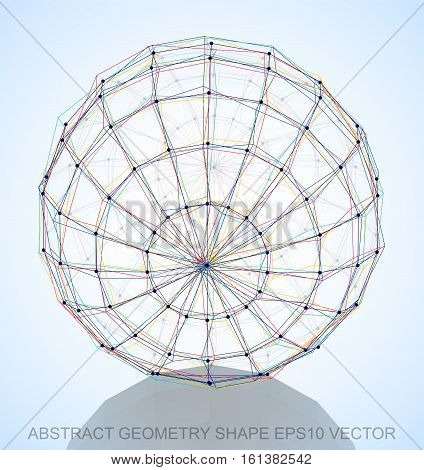 Abstract geometry shape: Multicolor sketched Sphere with Reflection. Hand drawn 3D polygonal Sphere. EPS 10, vector illustration.