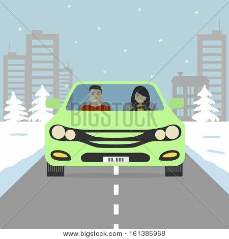 Couple goes in vacation. Young woman and man in a green car on the background of a winter landscape. There are buildings, trees, road in the picture. Vector flat illustration