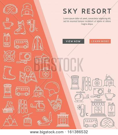 Ski resort outline icon collection. Ski resort vector of Ski and Snowboard icons. Linear medical template for brochure poster.