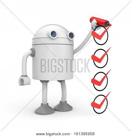 Robot and red checkmarks. Checklist metaphor. 3d illustration