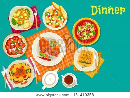 Meat dishes with fresh salads icon of vegetable salad, baked pork, fish rice salad, shrimp avocado salad, spinach lasagna, mushroom salad with sweet corn, lamb cutlet with vegetables