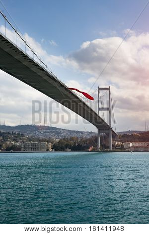 Iconic Istanbul view with the Bosphorus Bridge during and Beylerbeyi Palace during winter