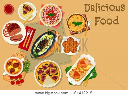 Tatar cuisine dinner with dessert icon of baked chicken and lamb, vegetable lamb soup, fish baked in sour cream, meat patty, strawberry cream pie, cheese cake with fig, fried dough with honey