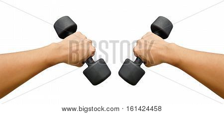 Hands holding dumbbells in sport club or gym and fitness room on white background