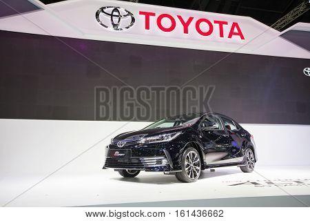 BANGKOK - November 30: Toyota Corolla Altis ESport car on display at Motor Expo 2016 on November 30 2016 in Bangkok Thailand.