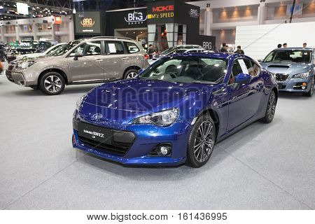 BANGKOK - November 30: Subaru BRZ 2.0 car on display at Motor Expo 2016 on November 30 2016 in Bangkok Thailand.