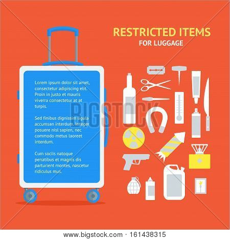 Restricted Items Set and Suitcase Banner Card Flat Design Style. Vector illustration