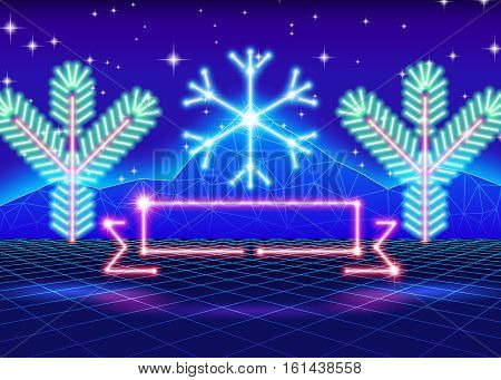 Christmas card with neon snowflake and 80s computer background