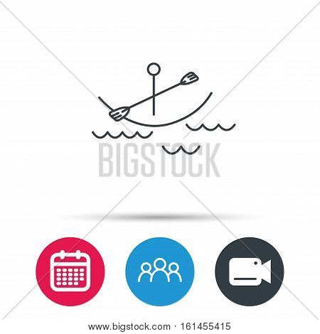 Kayaking on waves icon. Boating or rafting sign. Canoeing extreme sport symbol. Group of people, video cam and calendar icons. Vector