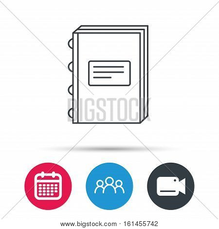 Book icon. Education sign. Group of people, video cam and calendar icons. Vector