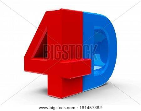 Red and blue 4D text symbol icon or button isolated on white background three-dimensional rendering 3D illustration