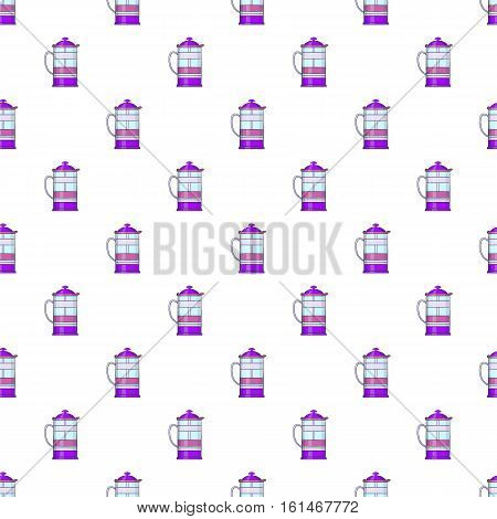 French press coffee maker pattern. Cartoon illustration of french press coffee maker vector pattern for web