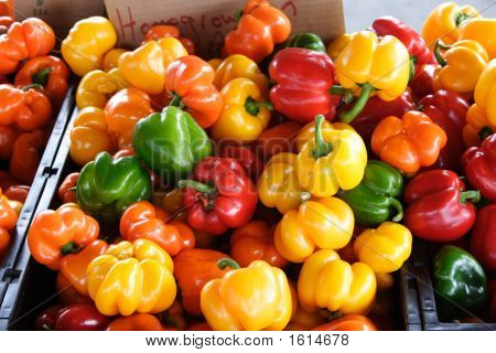 Colorful Peppers At Public Market