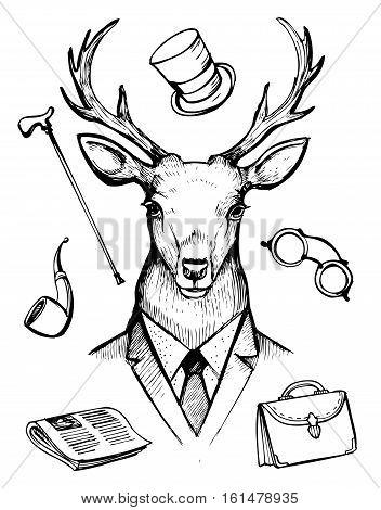 Deer in suit. Gentleman icons. Hand drawn vector illustration.