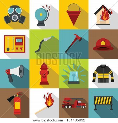 Fireman tools icons set. Flat illustration of 16 fireman tools vector icons for web