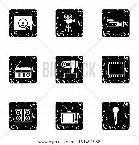 Electronic devices icons set. Grunge illustration of 9 electronic devices vector icons for web