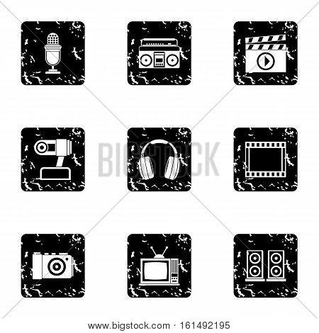 Communication device icons set. Grunge illustration of 9 communication device vector icons for web