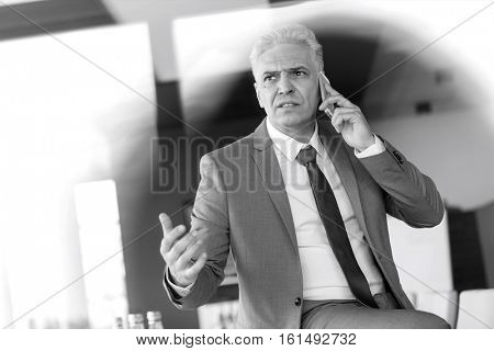 Serious mature businessman talking on mobile phone in office