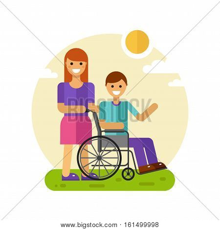 Vector flat design illustration of young smiling woman or friend on a walk with disabled young men waving in wheelchair in sunny day. Disability person and social worker concept for banner or web