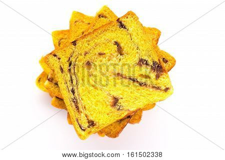 top view bread slices on white background