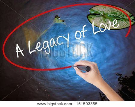 Woman Hand Writing A Legacy Of Love With Marker Over Transparent Board