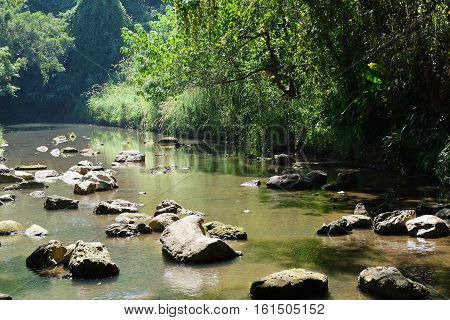 Stream in the National Park in Chiang Mai Thailand. Water, streams, waterfalls.