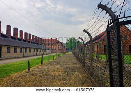 Oswiecim, Poland - May 2, 2014: Barracks and Crematorium at Auschwitz concentration camp Poland.