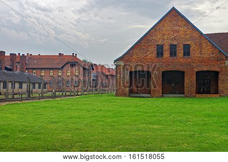 Oswiecim, Poland - May 2, 2014: Red brick barracks in Auschwitz concentration camp Poland.
