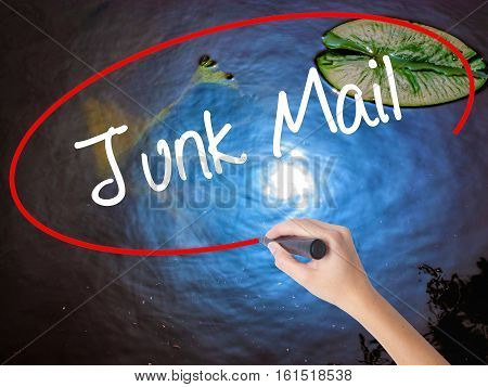 Woman Hand Writing Junk Mail With Marker Over Transparent Board