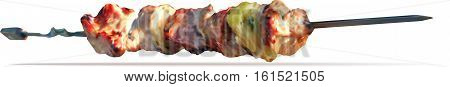 Kebab skewers on a white background. Vector Image.