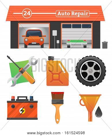 Auto repair icons set Vector garage concept. Car tuning, gas station, oil, auto repair, battery charging, autocorrect, auto painting. Cars in garage, car wash