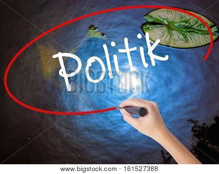 Woman Hand Writing Politik (politics In German) With Marker Over Transparent Board
