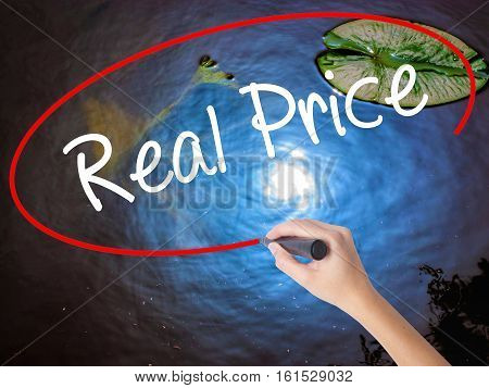 Woman Hand Writing Real Price With Marker Over Transparent Board