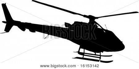 Helicóptero na ilustração do vetor de ação
