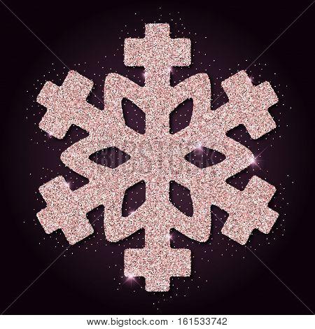 Pink Golden Glitter Excellent Snowflake. Luxurious Christmas Design Element, Vector Illustration.