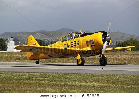 Yellow T-6 Texan Fighter Plane