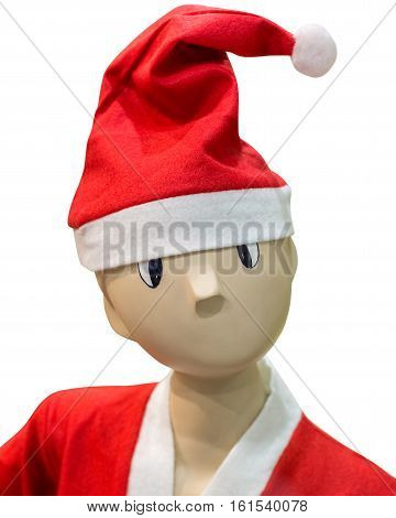 image of funny mannequin in a Christmas hat