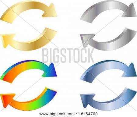 Four 3D arrow - vector illustration
