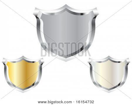 Three empty police badge vector illustration