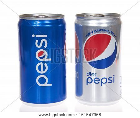 Alameda CA - March 28 2016: Cans of Pepsi and diet pepsi drink isolated on white. Pepsi Co is one of the largest corporations in the non-alcoholic beverage industry.