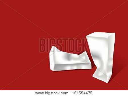 Crumpled paper milk or juice carton packages isolated on a background. Clean empty carton 0.2-0.25 liters for new design.
