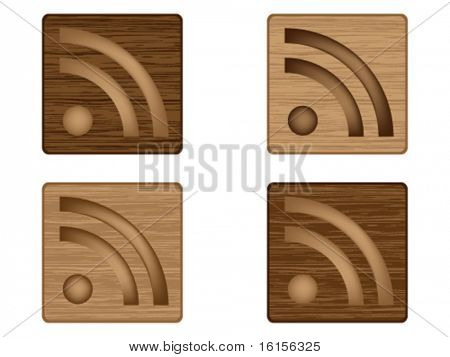 Four RSS wood buttons